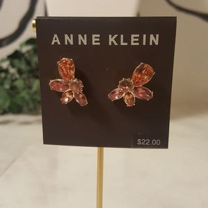 Anne Klein Gold-Tone Floral Crystal Earrings